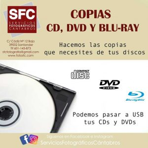 Copias CD, DVC, Blu-Ray Santander